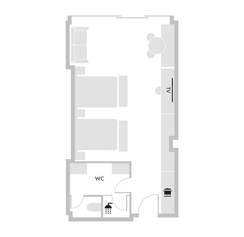 Deluxe Studio Suite Twin - Floorplan