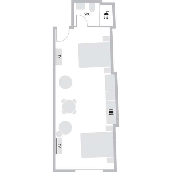 Studio Suite Twin - Floorplan